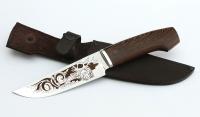 Нож Аллигатор немецкая сталь AISI 440C, рукоять венге, дюраль, гравировка