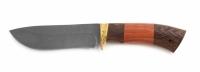 Нож Робинзон с кожаным чехлом (дамаск)