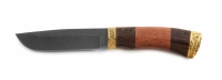 Нож Волк с кожаным чехлом (Дамасская сталь с худ. литьём)