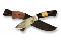 Нож Вепрь с кожаным чехлом (дамаск)