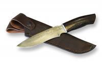 Нож Марал с кожаным чехлом (дамаск)