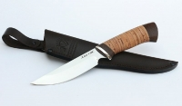 Нож Гриф, немецкая сталь AISI с рисунком, рукоять береста, дюраль