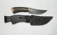 Нож Белка с кожаным чехлом (Дамасская сталь с худ. литьём)