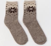 Носки из 100% шерсти серый со снежинкой (про-во Монголия)