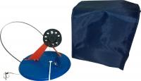 Набор оснащенных жерлиц в сумке, 10шт,ф170мм,ал.стойка, катушка ф63мм, леска 15м, оливка 8гр, двойник